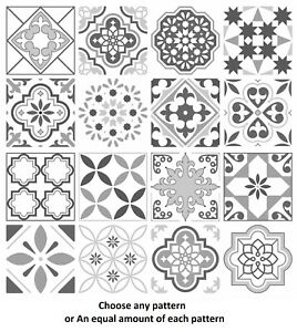 Pattern Tile Stickers for 150mm x 150mm 6 x 6 Inch Design G03 Grey Mosaic