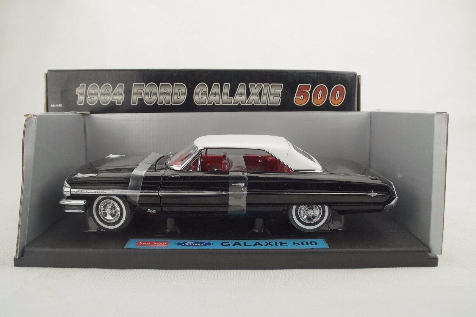 prezzi all'ingrosso 1 18 Sun Estrella - 1964 Ford Galaxie Galaxie Galaxie 500 Nero - Rarità - Nuovo   Conf. Orig.  servizio onesto