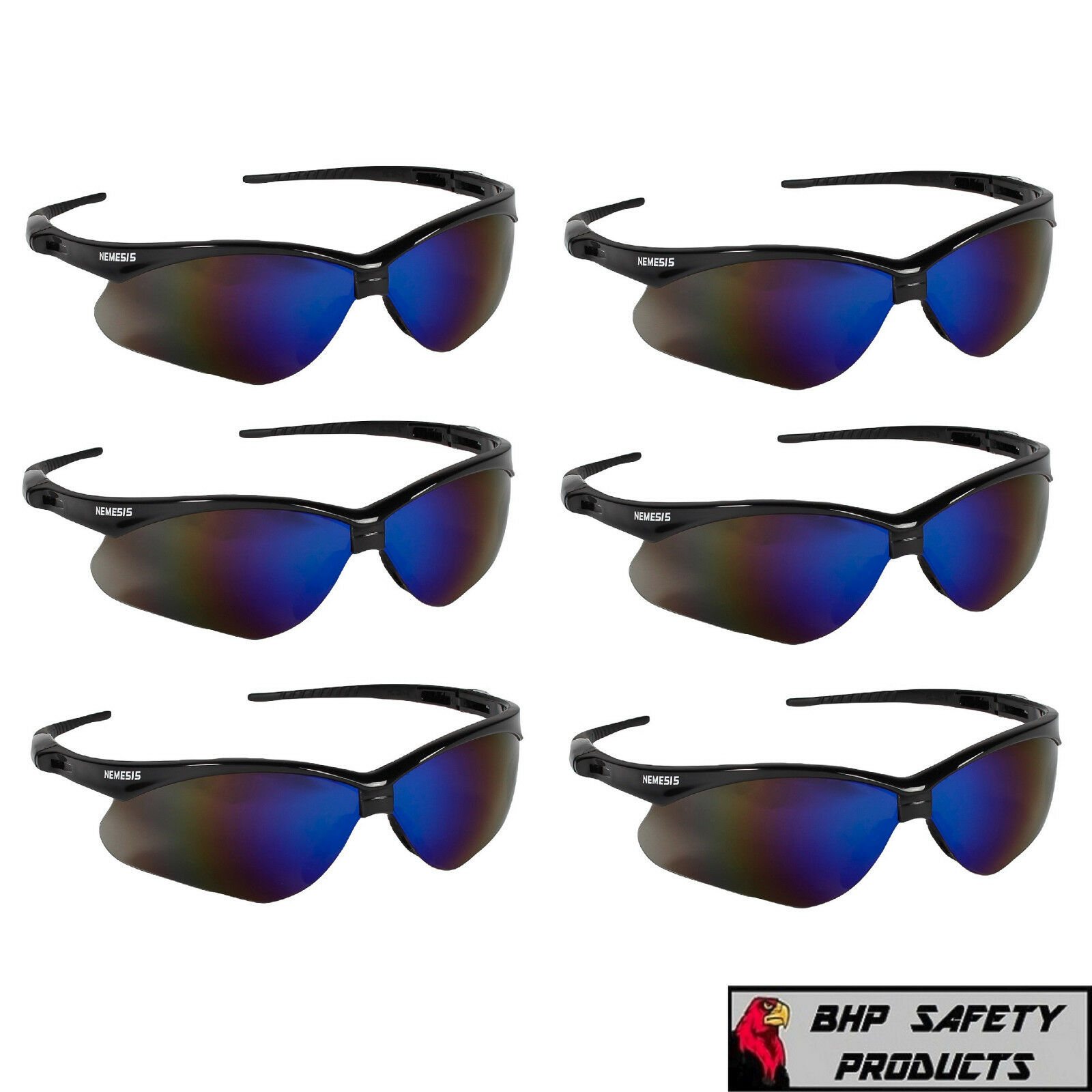 (6 PAIR) JACKSON NEMESIS SAFETY GLASSES BLACK FRAME BLUE MIRROR SUNGLASSES 14481