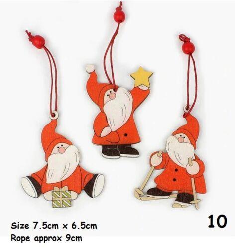 Snowman Xmas Santa Tree Dog Car 1388 Christmas Wooden Bauble Packs Decorations