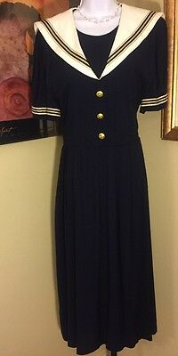 True Vintage Miss Dorby Navy Sailor Bib Front metallic button Dress Size 16