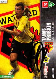 Watford F.C Tamas priskin main signé Championship 2008 PANINI CARTE