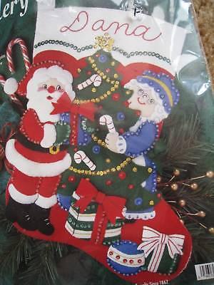 Bucilla Mr And Mrs Claus Decorating Tree Felt Sequin Stocking Kit 33591