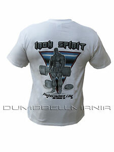 "Workout Gym Weightlifting T-shirt With /""Iron Spirit/"" Design On Back   M,L,XL,2XL"