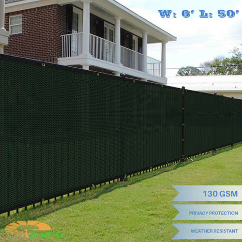 6/'x50/' Green Windscreen Privacy Fence Shade Cover Mesh Outdoor Lawn Construction