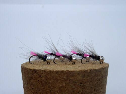 5 Pink Tag Tungsten Beaded Nymphs Jigs Barbless Size 14 3.5mm Silver