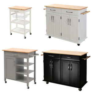 Details About Large Modern Kitchen Cart Mobile Cabinet Storage Unit W Drawer Shelving Trolley