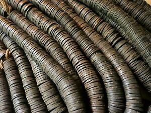 Ghana Krobo Afrika Afryka Strang Altglasperlen polierte Scheiben glänzend anthrazit