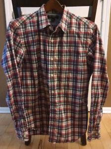 BANANA-REPUBLIC-Men-039-s-Medium-Red-amp-Blue-Plaid-Long-Sleeve-Button-Front-Shirt