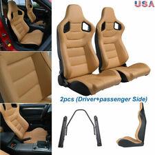 Pair Car Racing Seats Pu Leather 2 Sliders Tan Adjustable Bucket Seats Universal Fits Toyota Celica