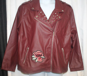 Yoki Womens Plus Size Faux Leather Moto Jacket with Studs