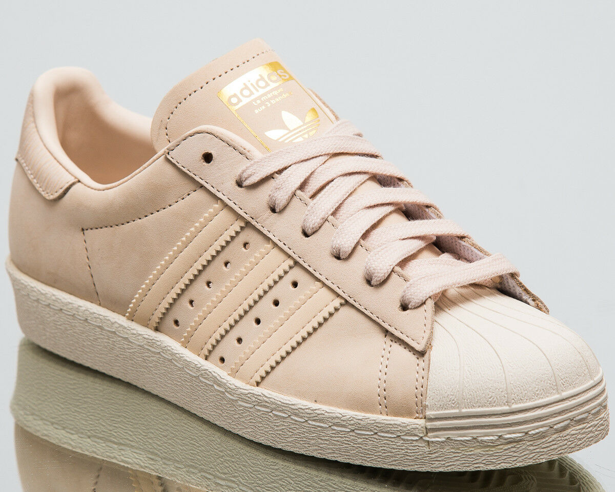 Adidas Originals Wmns New Superstar 80s Beige Damens New Wmns Sneakers Linen Schuhes AQ1219 63dc3b