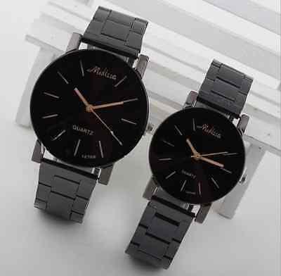 Black Women Men Stainless Steel Watches Analog Quartz Movement Wrist Watch