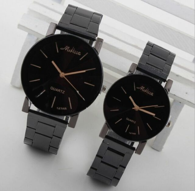 Black Women Men Stainless Steel Watches Analog Quartz Movement Wrist Watch