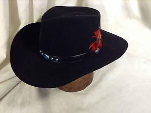 Vintage Bailey U-Rollit 4X Black Western Hat Leather Turquoise Cabs ... 6cb1dc51ec2