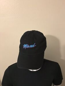 Otto six panel black cap with 3D PUFF Embroidery design of Miami ... 67d1455d620