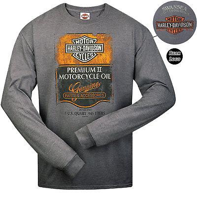 Harley Davidson Mens Premium II Motorcycle T-shirt Grey Long Sleeve Swansea