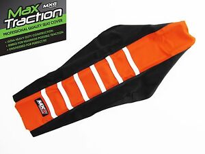 KTM-SX-SXF-SX-F-2016-2018-RIBBED-SEAT-COVER-BLACK-ORANGE-WHITE-STRIPES-RIBS