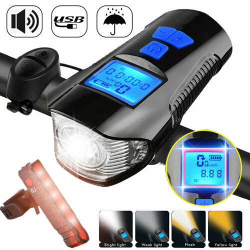 MTB USB Rechargeable Bright LED Bicycle Bike Front Headlight+Rear Tail Light Set