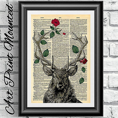 ART PRINT ON ORIGINAL ANTIQUE BOOK PAGE Mounted Deer Stag Flowers WALL HANGINGS