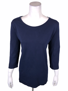 Isaac Mizrahi Essentials Pima Cotton Tunic with Tall Side Slits Navy Large Size