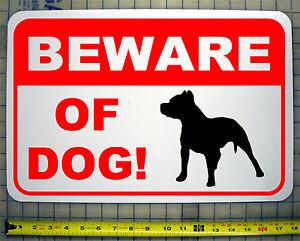 Image Is Loading Beware Of Dog Pitbull 12 034 X18