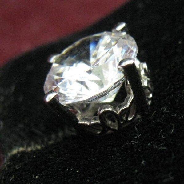 ONE 14K White gold Antique Filigree Design Simulated 3 CT DIAMOND Stud Earring