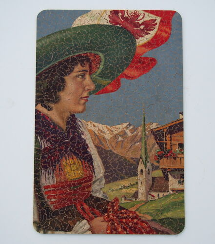 VINTAGE PAR PICTURE PUZZLE EAGLES FLY HIGH WOMAN MOUNTAIN POLISH FLAG