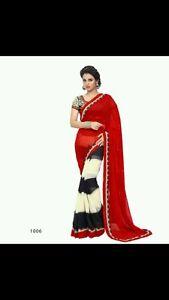 8438517070018 donna Saree Indian Cream Designer Party Black Red Georgette da sera Bollywood IqPPYxrv