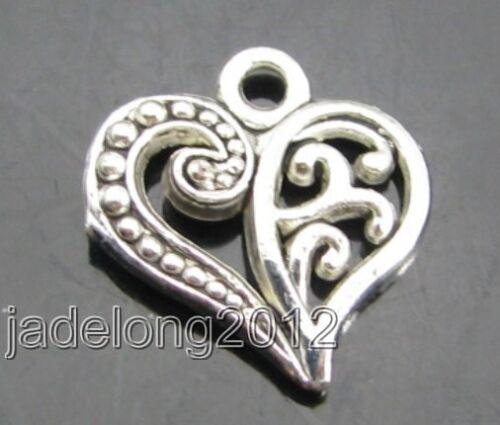 30PCS Retro Tibetan Silver style  loving heart Charm Pendant Beads 13MM