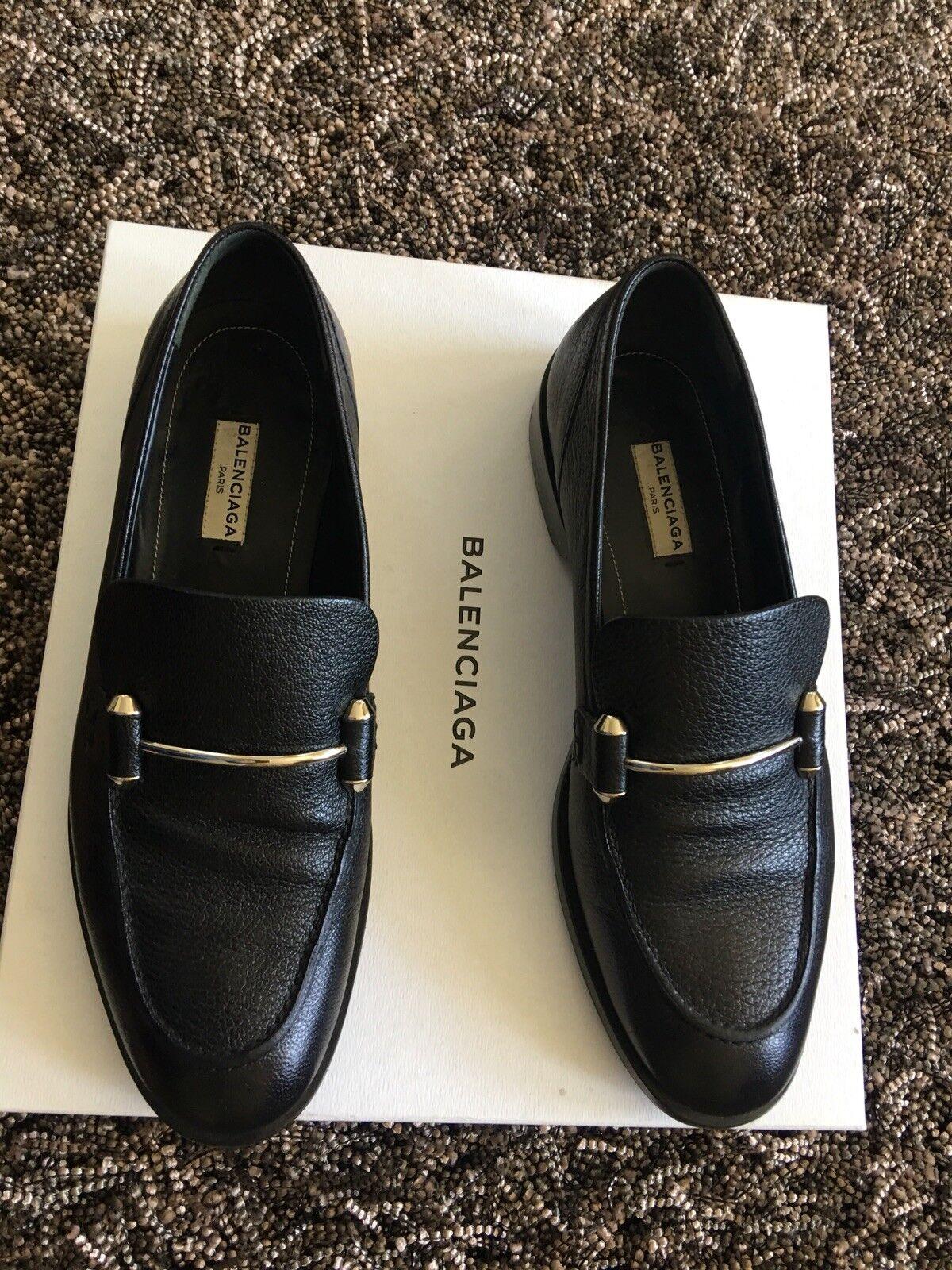 BALENCIAGA chèvre noire noire noire en cuir Italie Mocassin Chaussures Pour Femme EU 39 us 8-8.5 MP 795   154569