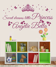 Wall Stickers custom name crown butterfly heart vinyl decal decor Nursery kids