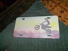 MOTO X RIDER JUMPING Painted Metal License Plate Wall Hanger !