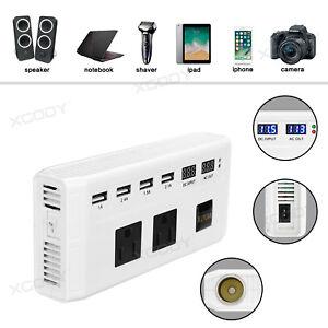 250W-Car-Power-Inverter-DC12V-to-AC110V-4-USB-amp-Cigarette-Lighter-Plug-White