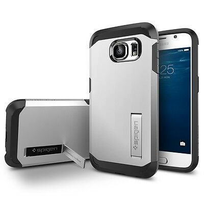 Spigen Galaxy S6 Case Tough Armor Satin Silver