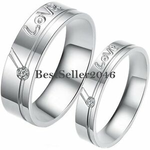 Silver-Stainless-Steel-034-Love-034-Engraved-Promise-Ring-Engagement-Wedding-Band