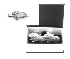 54c548dccaae Guinea Pig Pewter Cufflinks and Tie Clip Set Pet Lover Gift Boxed | eBay