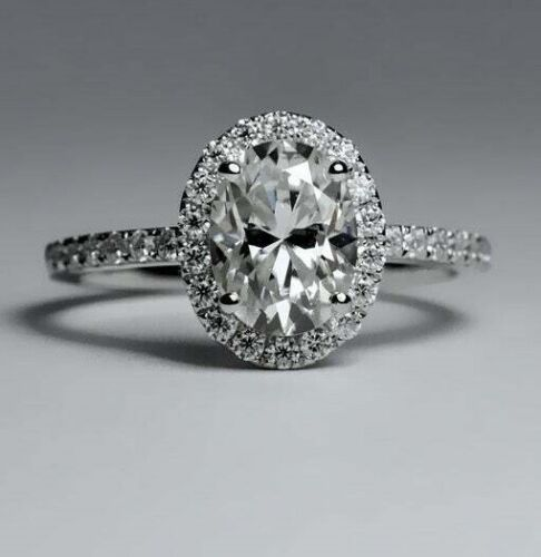 Size 6,7,11 Engagement /& Wedding Ring Fine Halo 2Ct Round Diamond 14K White Gold