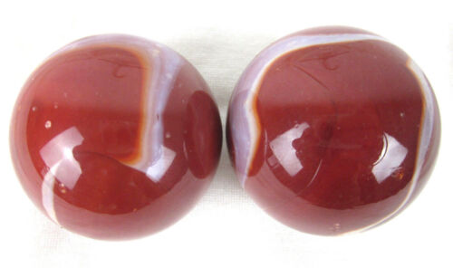 """2 MAMMOTH 1 5//8/"""" FIREFIGHTER Red White Marbles glass Massive 42mm HUGE Swirl"""