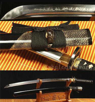 1095 CARBON STEEL CLAY TEMPERED  ray skin SAYA JAPANESE SAMURAI KATANA  SHARP