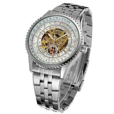 JARAGAR Charm Mens Skeleton Automatic Mechanical Men Stainless Steel Wrist Watch