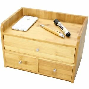 Bamboo desk tidy with 3 drawers stationery organiser ebay - Desk stationery organiser ...