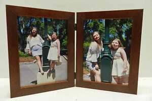 3-5x5-4x5-4x6-5x7-Brown-Stain-Double-Hinged-Vertical-Wood-Picture-Frame