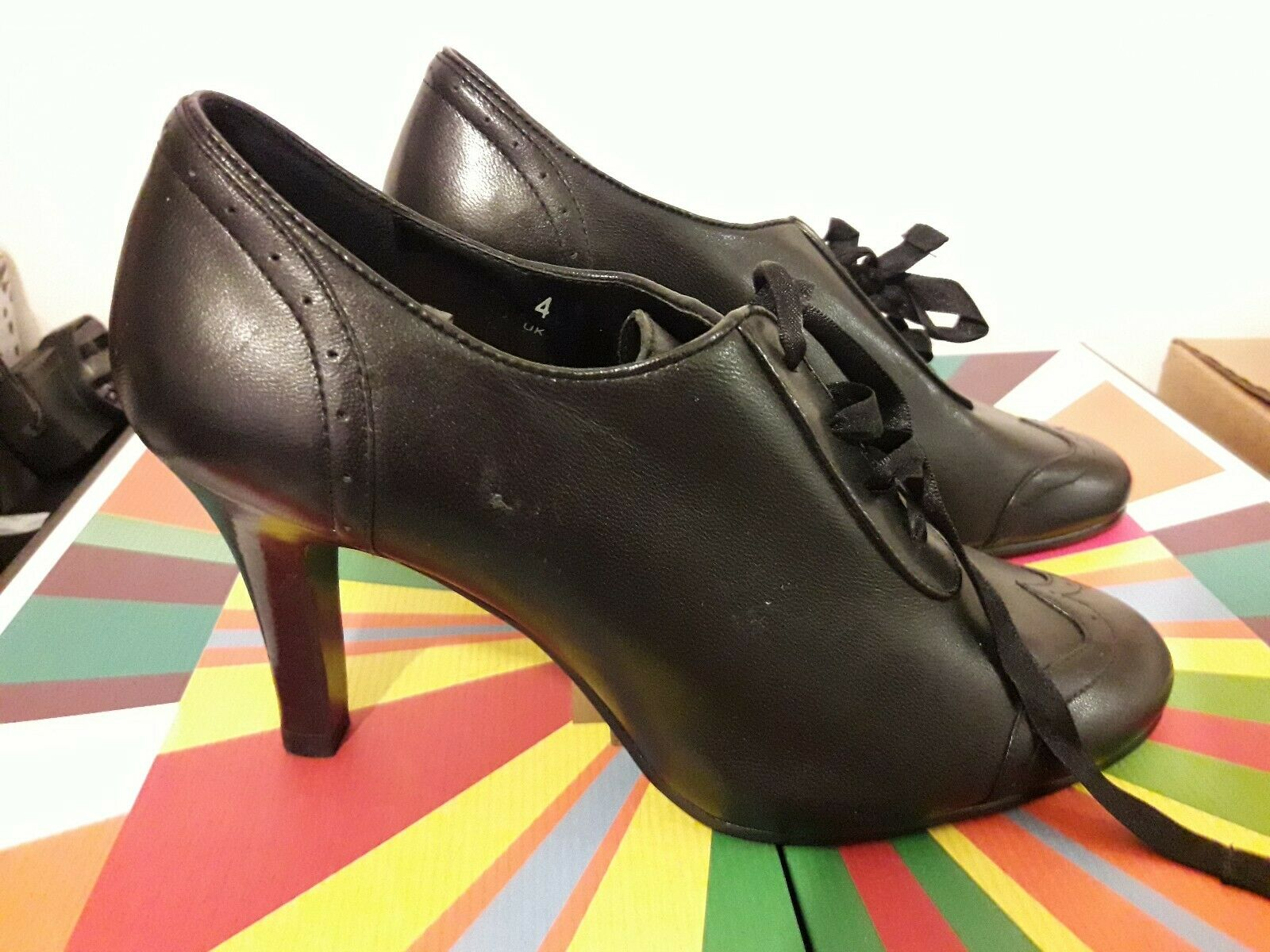 Marks&Spencer High Heels shoes Party Summer Spring Office Black Court Leather 37