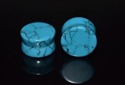 PAIR (2) Solid Light Blue Turquoise Stone EAR PLUGS Double Flared GAUGES