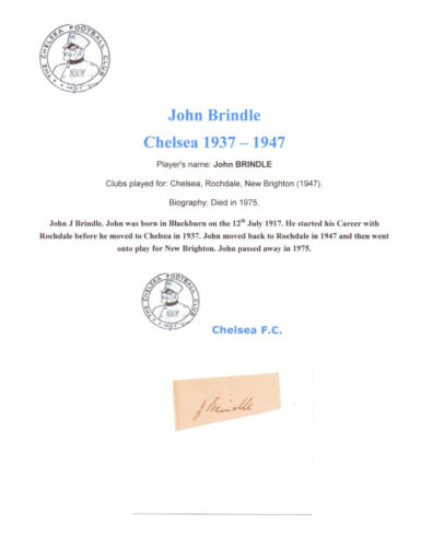 JOHN BRINDLE CHELSEA 19371947 VERY RARE ORIGINAL HAND SIGNED CUTTINGCARD GOOD
