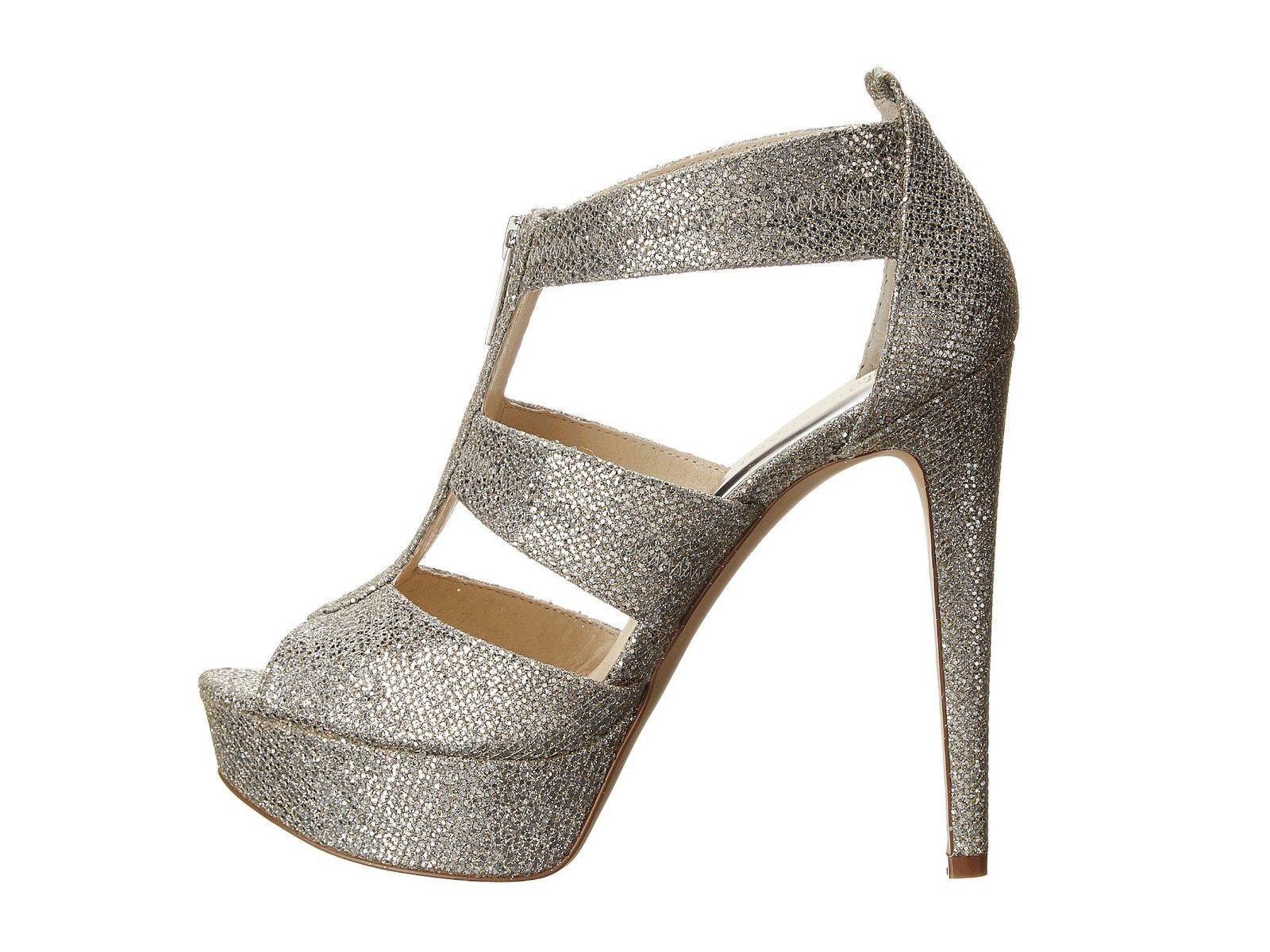 cf53bef4963 Michael Kors Berkley T Strap Silver Glitter Platform High Heels  150 NEW  11M