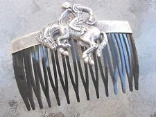 Vintage Cowboy & Bucking Bronco Antiqued Silver Plated & Black Comb Made in USA