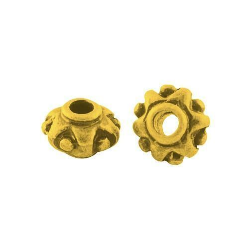 Tibetan Donut Spacer Beads 7mm Antique Gold 30 Pcs Art Hobby Jewellery Making