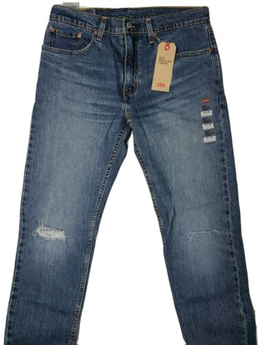 Details about  /Levis 502 Regular Taper Stretch Ripped Distressed Blue Jeans Size 33X32 New!